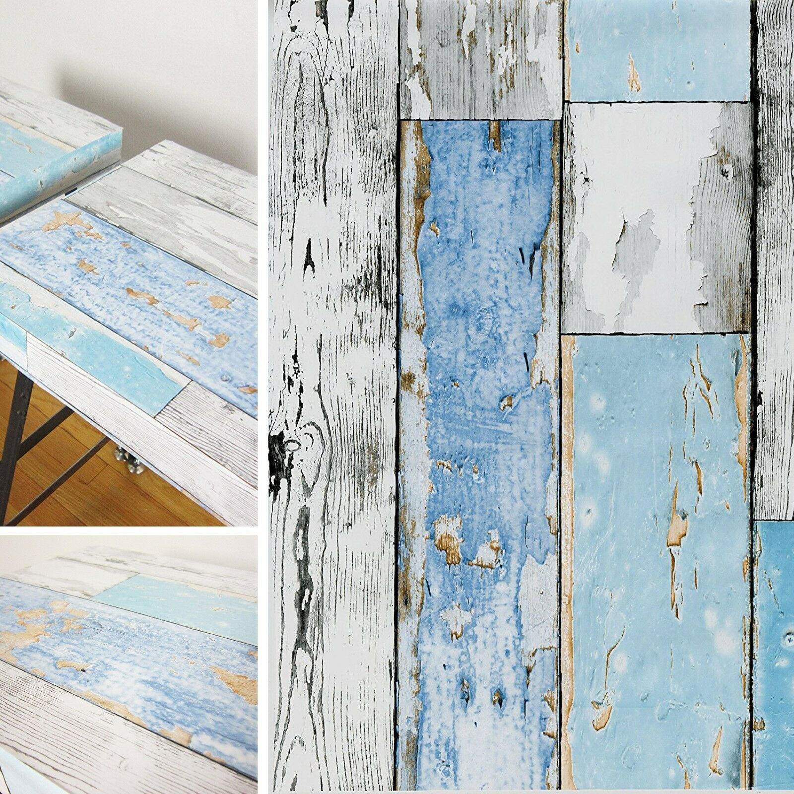 NEW DIY KITCHEN Beach Scrap Wood Blue Vinyl Cover Self Adhesive ...
