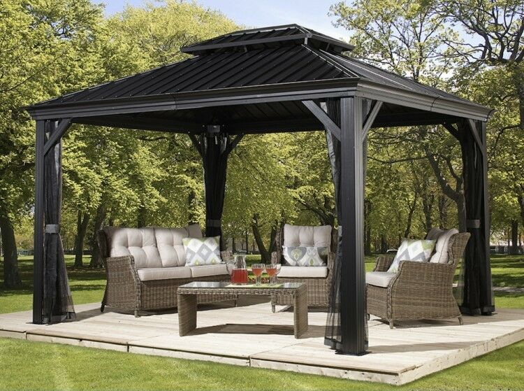 Patio Sun Shelter Pool Furniture Gazebo 10 X 12 Ft Hardtop Steel Roof  Garden Set 1 Of 6Only 2 Available Patio ...