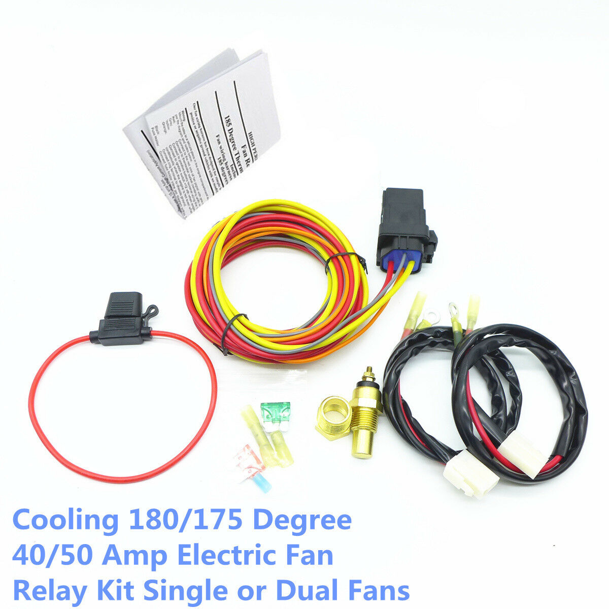 Cooling 180 175 Degree 40 50 Amp Electric Fan Relay Kit Single Or 2002 Dodge Caravan Wiring Dual 1 Of 8free Shipping See More