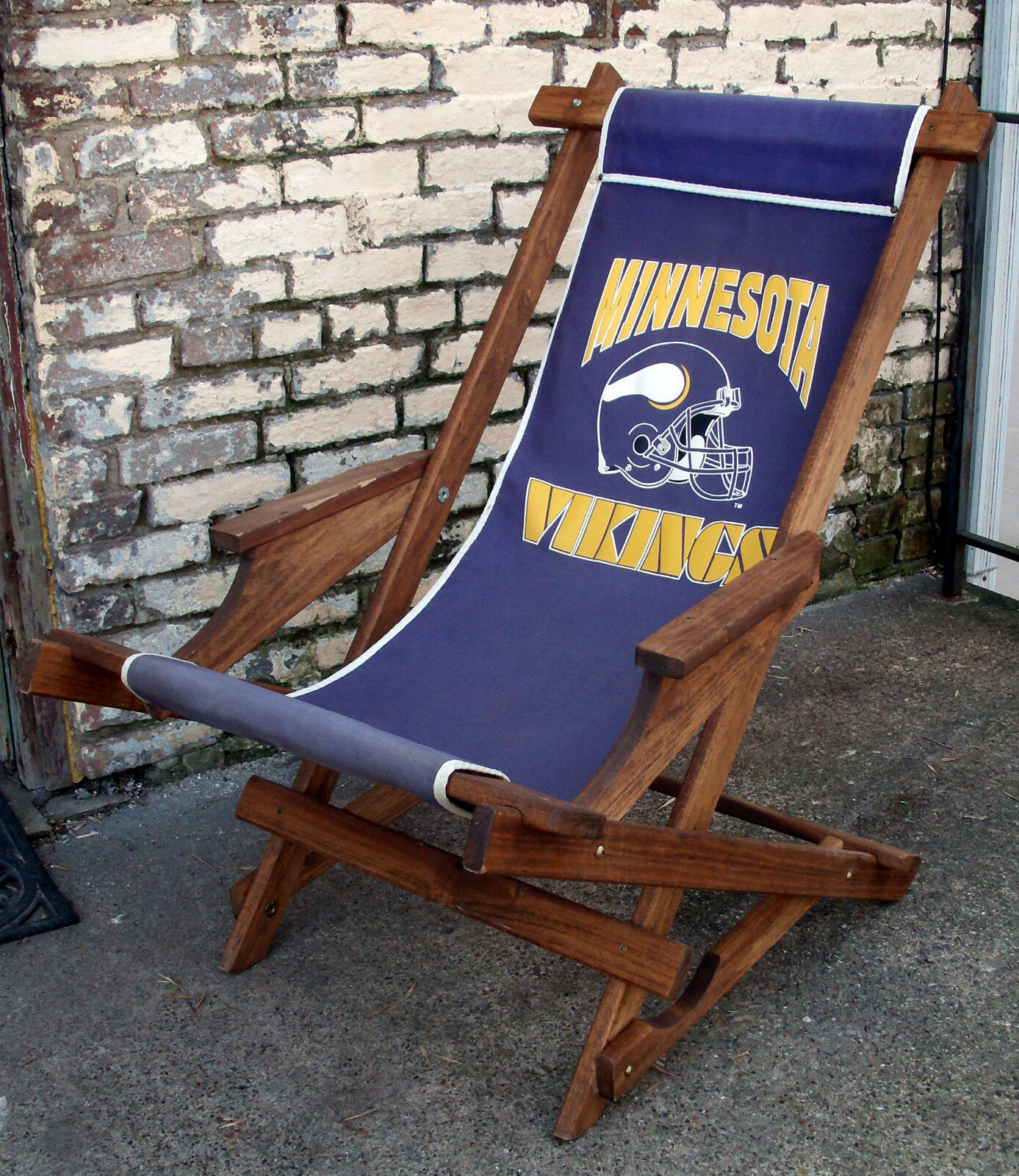 Genial Vintage Wood Canvas Minnesota Vikings Folding Rocking Chair Directors  Tailgating 1 Of 12Only 1 Available ...