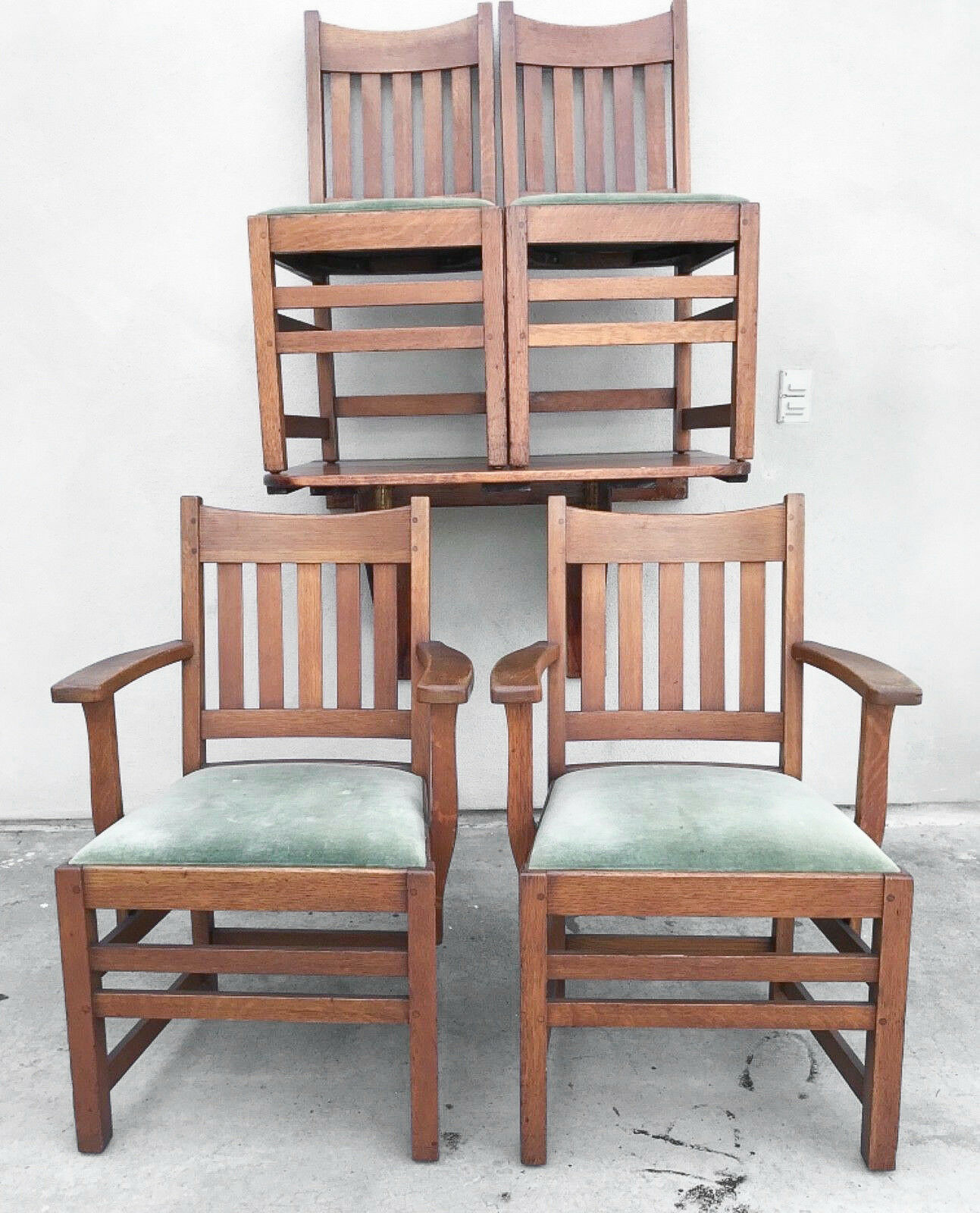 1 of 8Only 1 available ... & LIMBERT SIGNED MISSION Oak Dining Chairs Arts u0026 Crafts American c ...