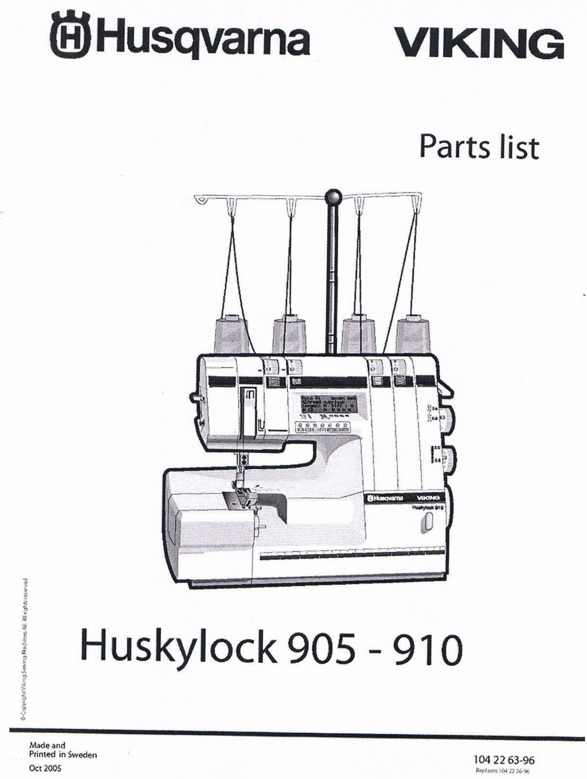 Husqvarna Viking Huskylock 905 910 Serger Overlock Service Repair Manual +  Parts 1 of 7Only 4 available ...