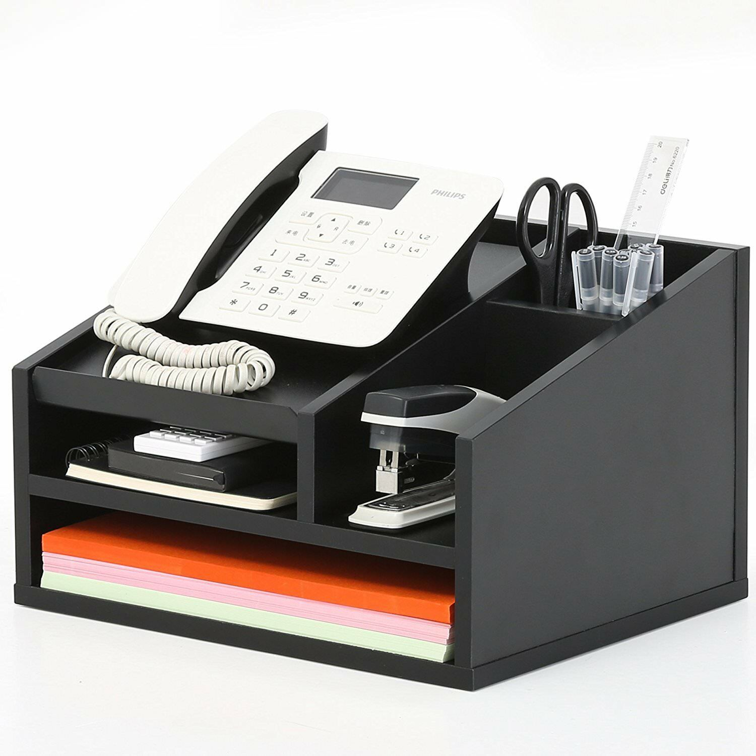 Desktop Phone Stand Desk Organizer File Supplies Black 1 Of 7only 5 Available