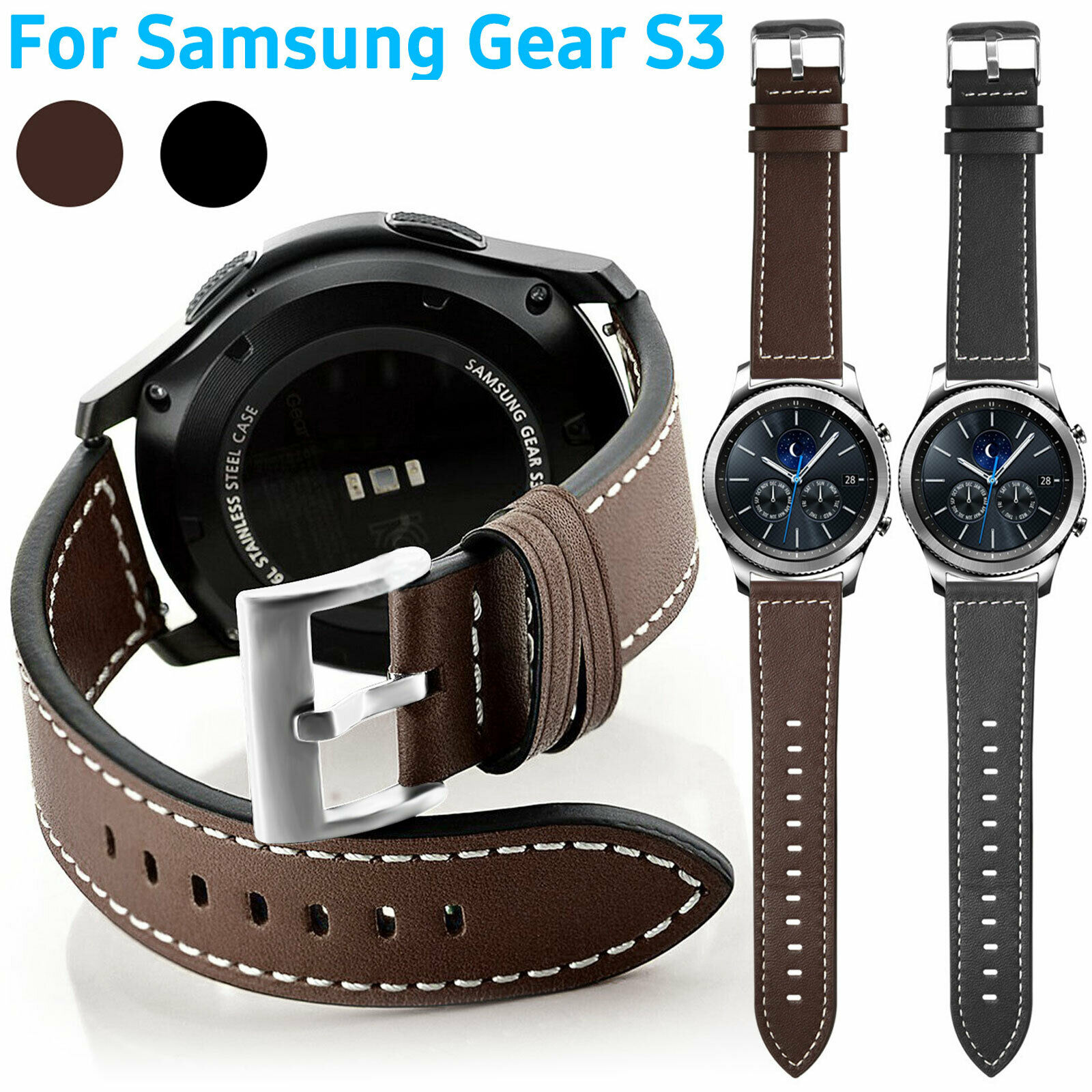 Wristband Leather Strap Band Magnetic for Samsung Gear S3 Classic S3 Frontier 1 of 7FREE Shipping ...