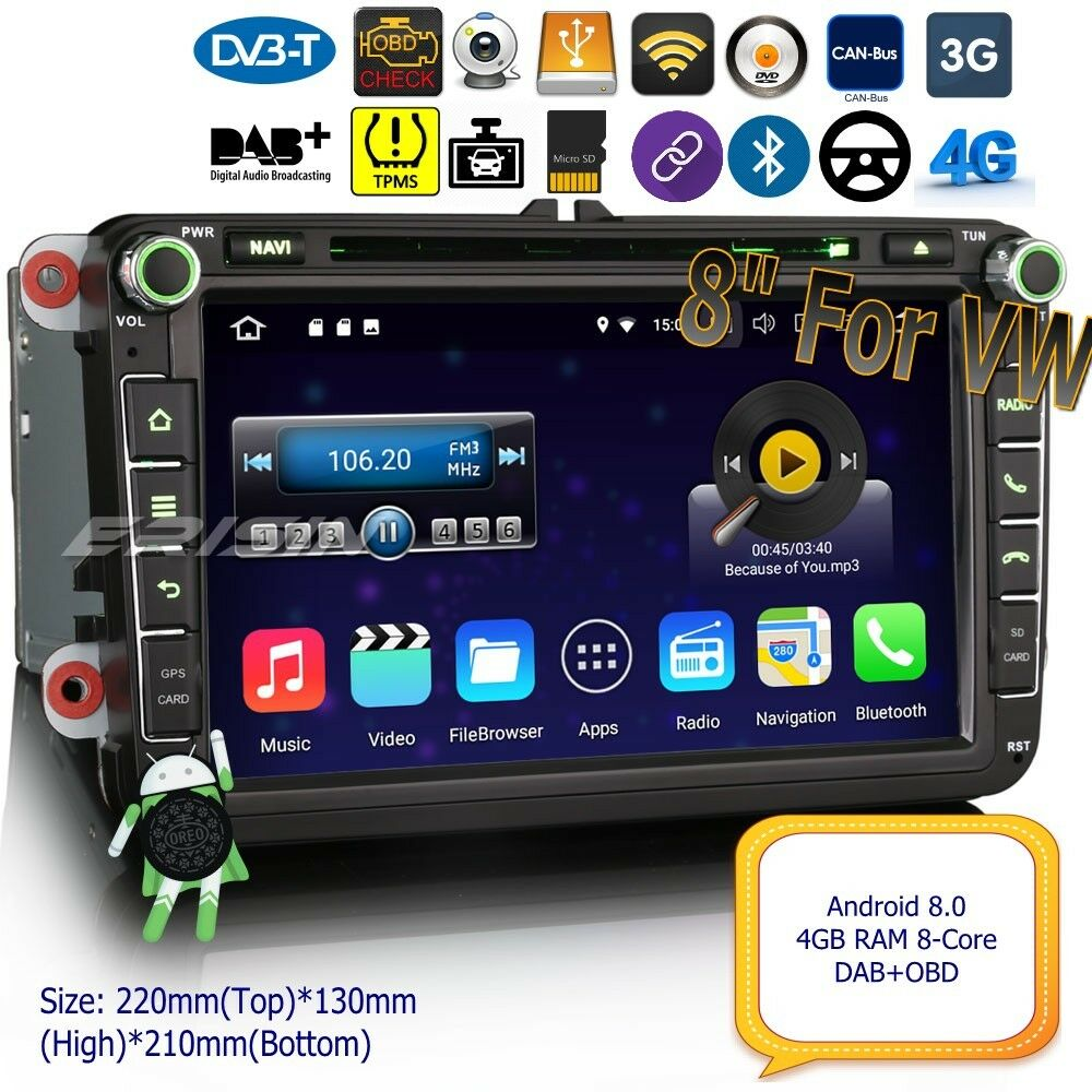 android 8 0 autoradio dab for vw passat golf mk5 6 touran. Black Bedroom Furniture Sets. Home Design Ideas