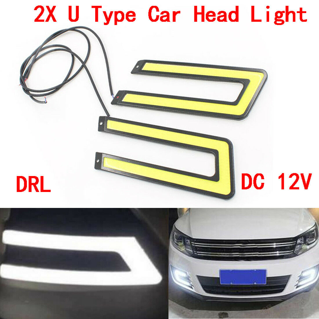 2x U Type Daytime Running Light Drl Cob Led Car Headlight Fog Lamp Wiring Daylight Lights Drls On A Caravan White Dc 12v 1 Of 6only 2 Available See More