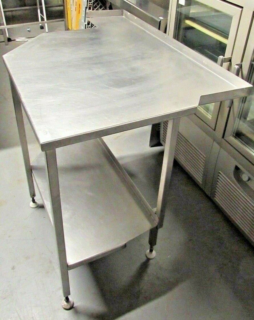 Stainless Steel Commercial Kitchen Corner Worktop Prep Table With One Shelf  1 Of 2Only 1 Available ...