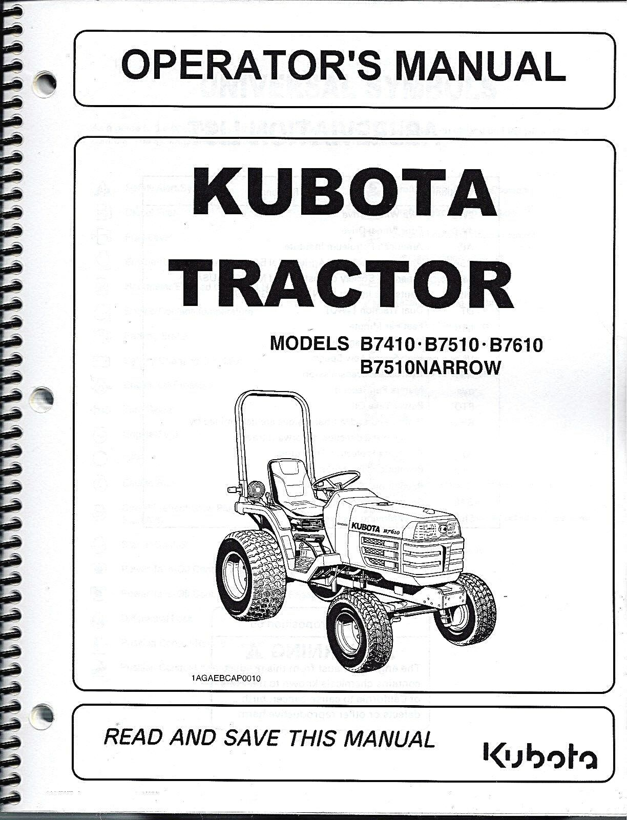 Kubota B7410, B7510, B7610 Tractor Operator Manual 6C190-63112 1 of 1Only 2  available ...