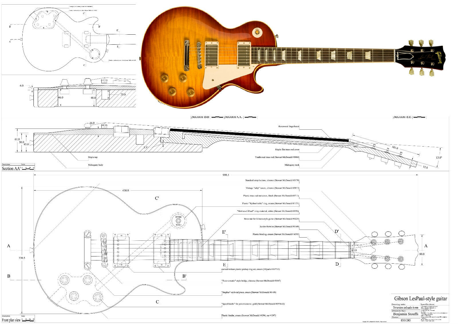 Gibson Les Paul 59 Full Scale Guitar Plans 1893 Picclick Uk 1958 Wiring Diagram 1 Of See More