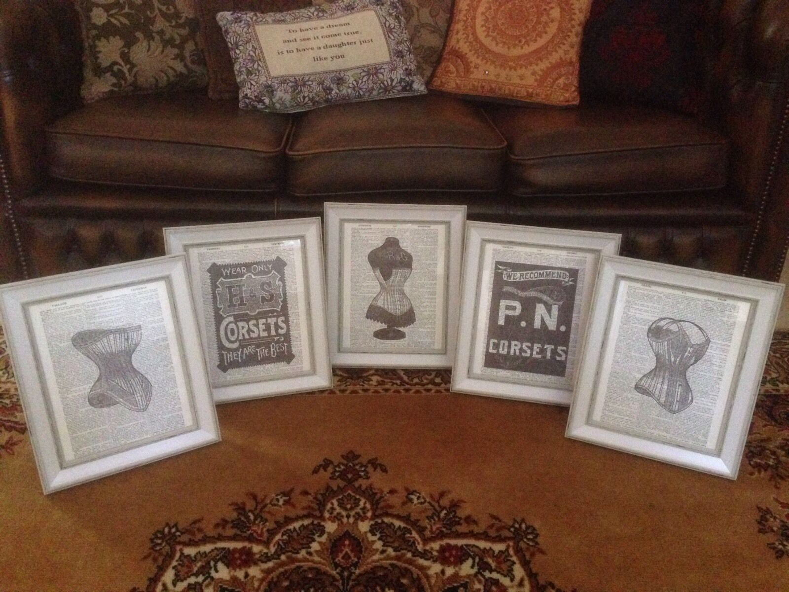 SET OF 5 Vintage Feature Wall Photo Frames FRAMED Images Corset Goth ...