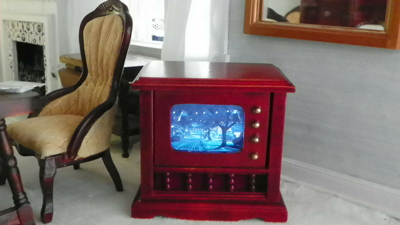 Dollhouse Miniature Working Tv Video Outstanding Feedback No Wires Electrical Wiring Play Now 1 Of 7free Shipping