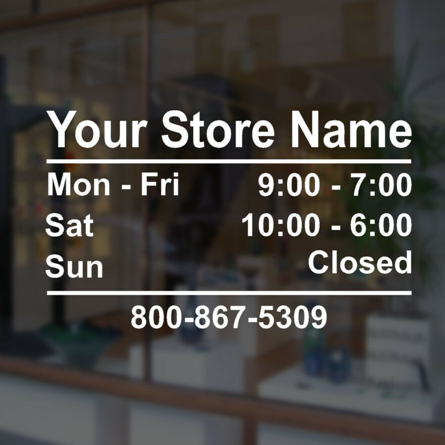 Customizable Business Store Hours Vinyl Window Decal Sticker Sign