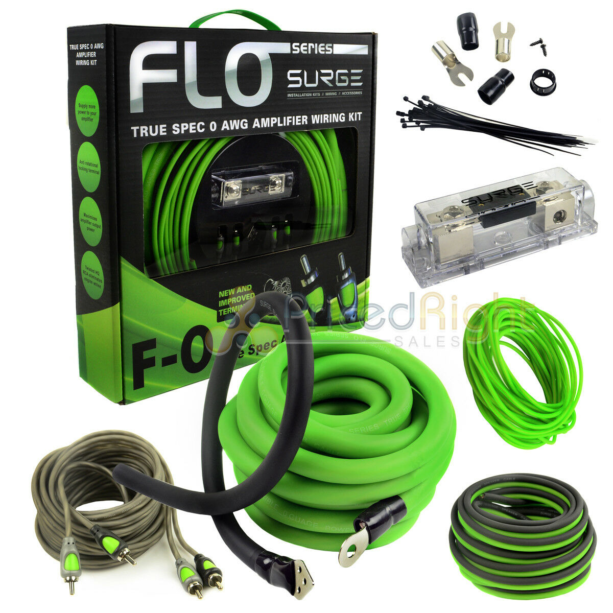 True 0 Gauge Amp Kit Awg Green Amplifier Install Wiring Accessories 1 Of 9free Shipping