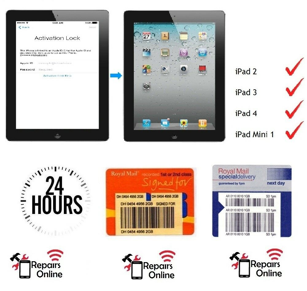 iPad 2 3 4 Mini 1 3G Cellular iCloud Removal Activation Bypass Repair  Service 1 of 1FREE Shipping ...