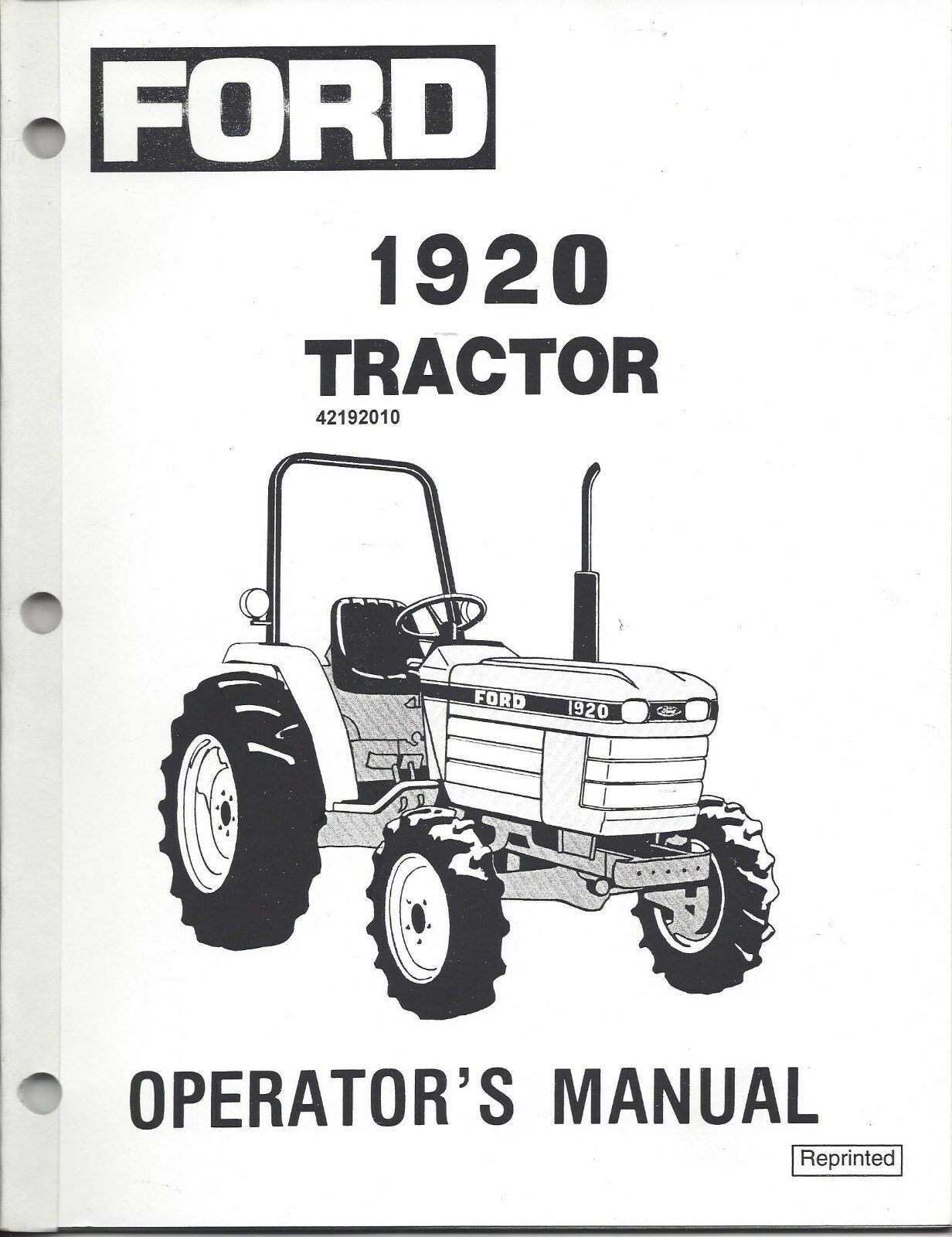 Ford New Holland 1920 Tractor Operator Manual 42192010 1 of 1Only 1  available ...