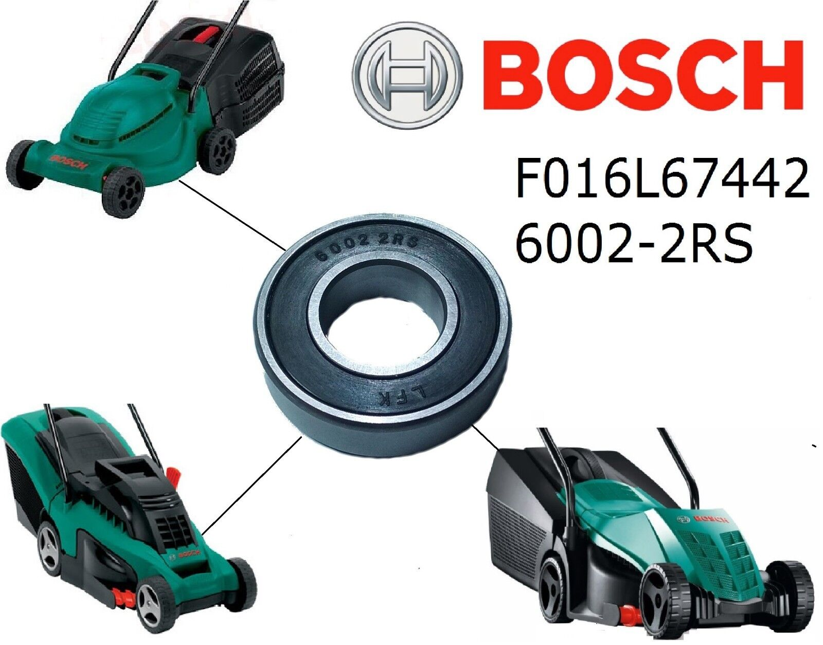 genuine bosch rotak 320 32 37 bearing 6003 2rs - f016l67422 for