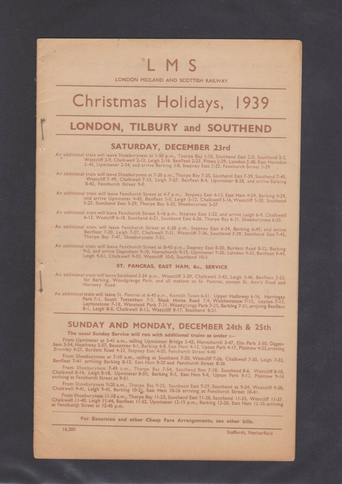 London Midland Scottish Railway Handbill Christmas LTS - London rail stations' bygone Xmases