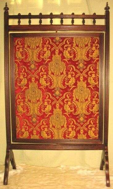 Antique Victorian Fireplace Screen Tapestry Revolves 1 Picclick