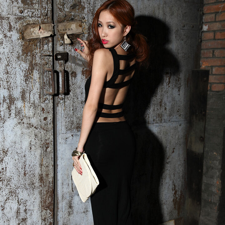 Black Sexy Backless Maxi Long Evening Dress Size S 8 10