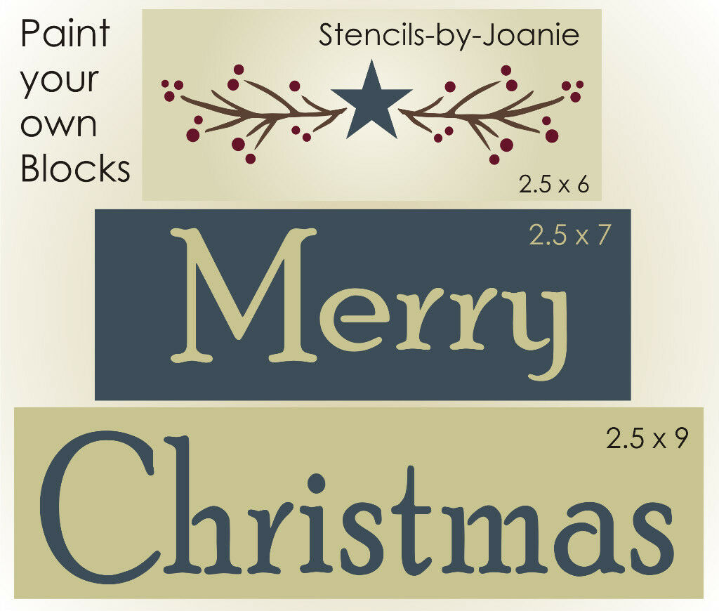 ... STENCIL Merry Christmas Pip Berry Twig Country Garland Barn Star Signs