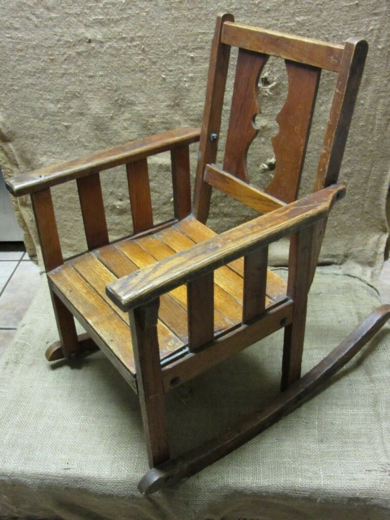 Vintage Childs Wooden Rocking Chair U003e Antique Old Stool Parlor Chairs NICE  7169 1 Of 1Only 1 Available ...