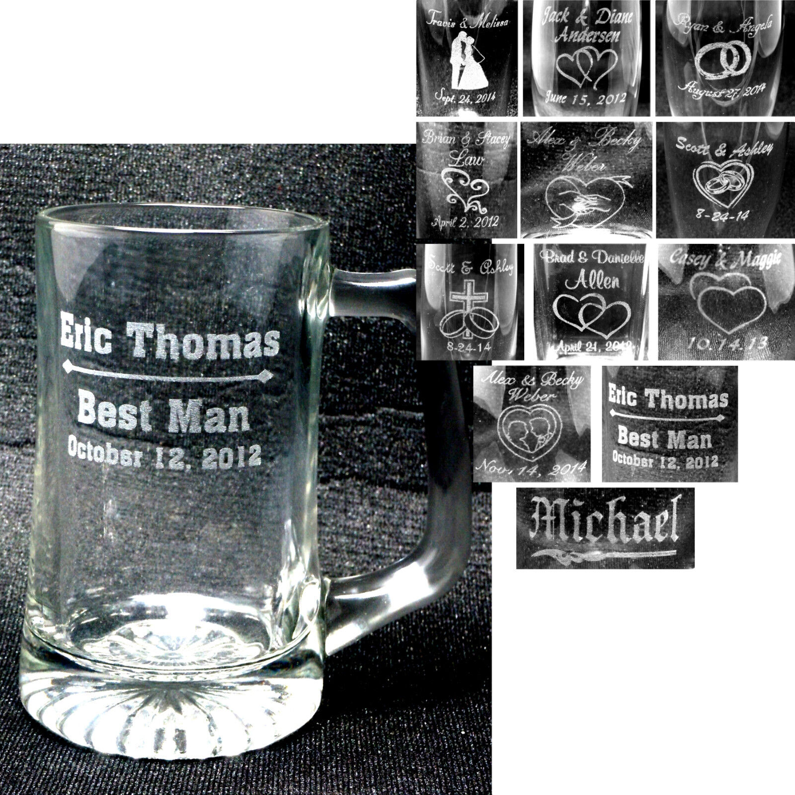 Engraved Wedding Mugs : Personalized Glass Mugs Custom Engraved Wedding Party Groomsmen ...