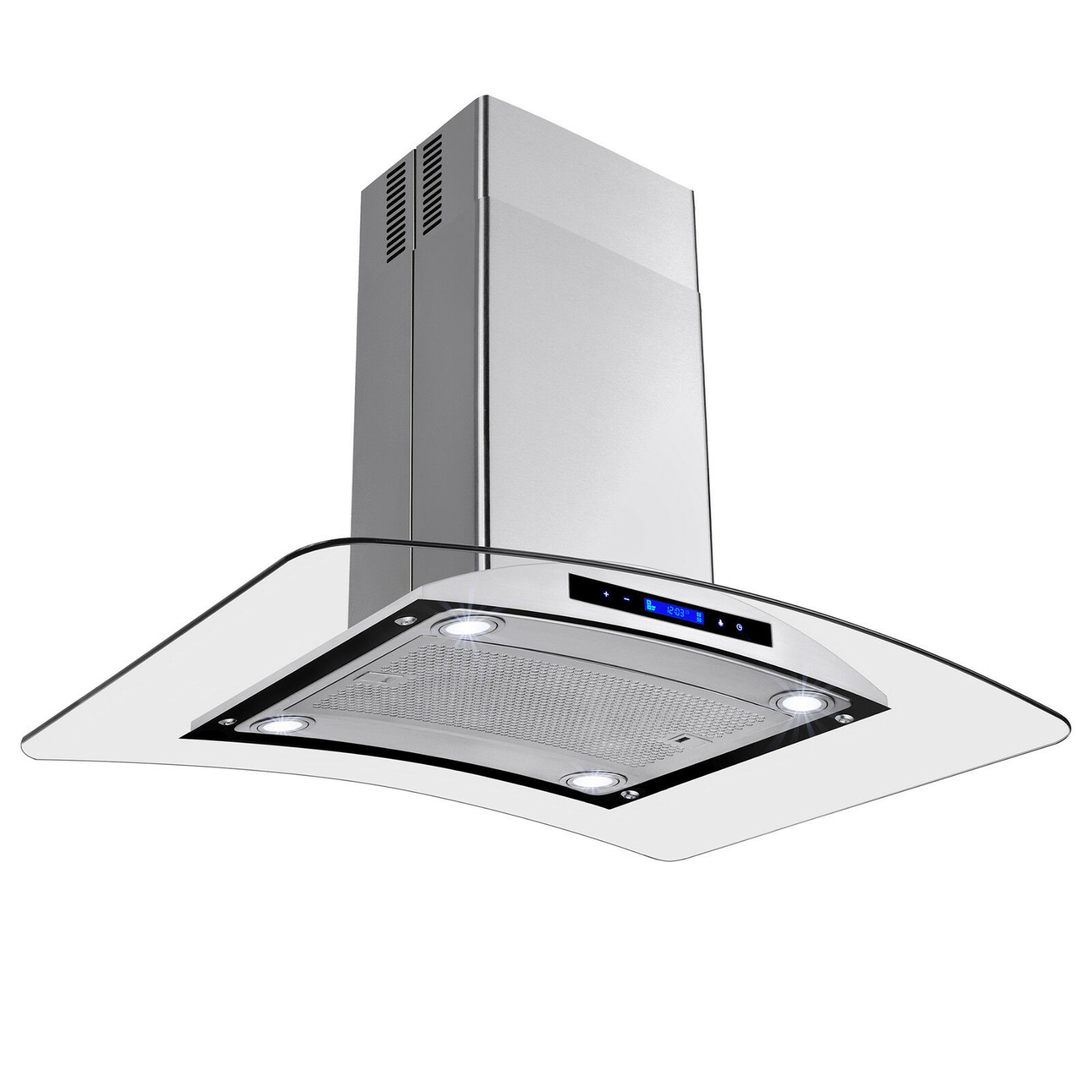 36 quot kitchen island mount stainless steel range hood w baffle vent