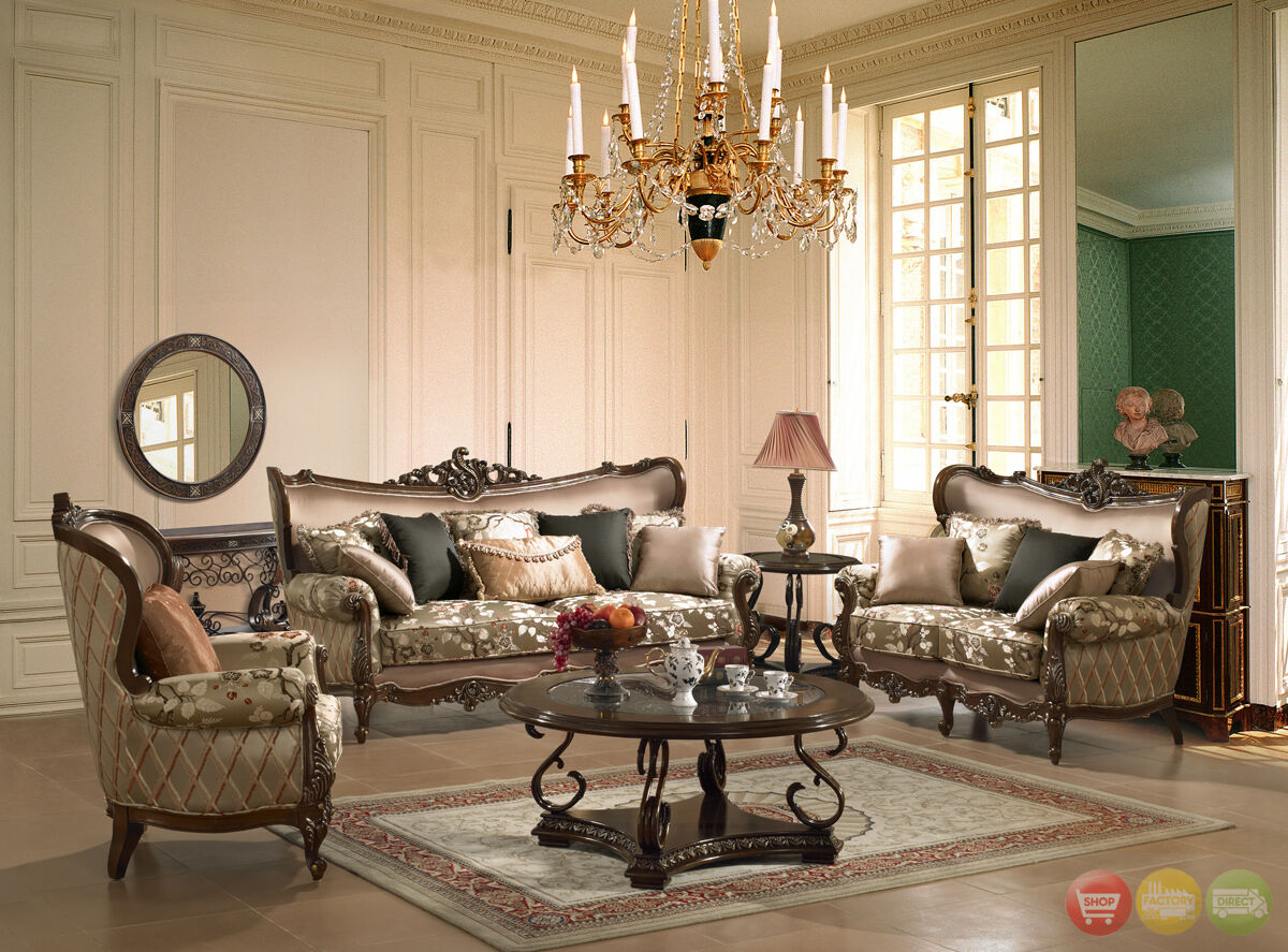 Luxury Sofa Love Seat Formal Living Room Furniture Set Traditional HD 1