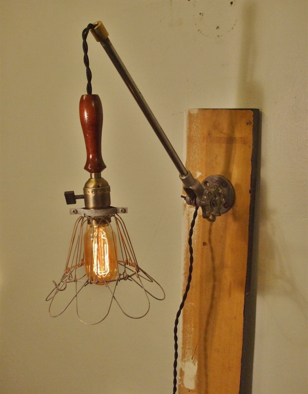 Vintage Wall Mounted Lamps : VINTAGE Industrial Cage Lamp Sconce - Wall Mount Trouble Lamp with Arm - ?101.98 PicClick UK