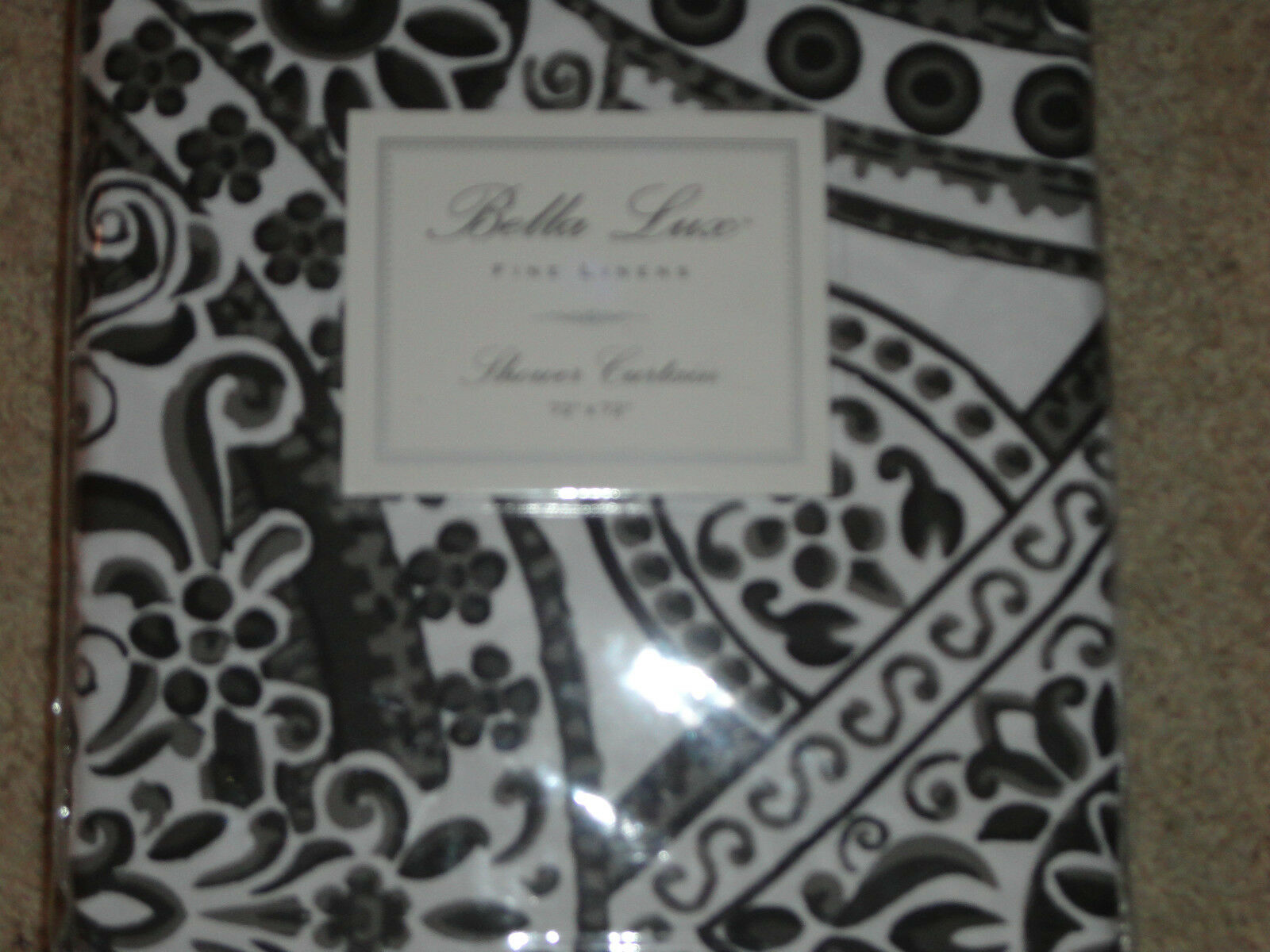 Bella Lux Black Gray White Damask Paisley Shower Curtain NEW Circle Pattern 1 Of 2Only Available
