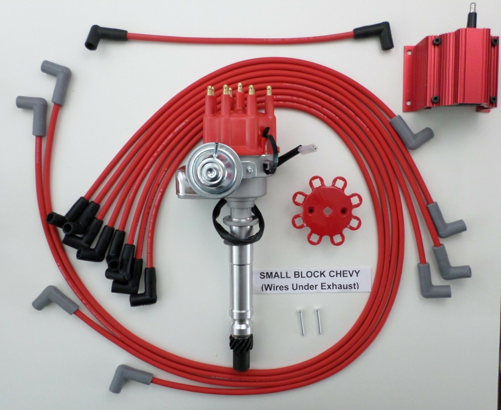 Chevy 327 350 400 Red Small Hei Distributor Coil Spark Plug Wires Block Wiring 1 Of 2free Shipping