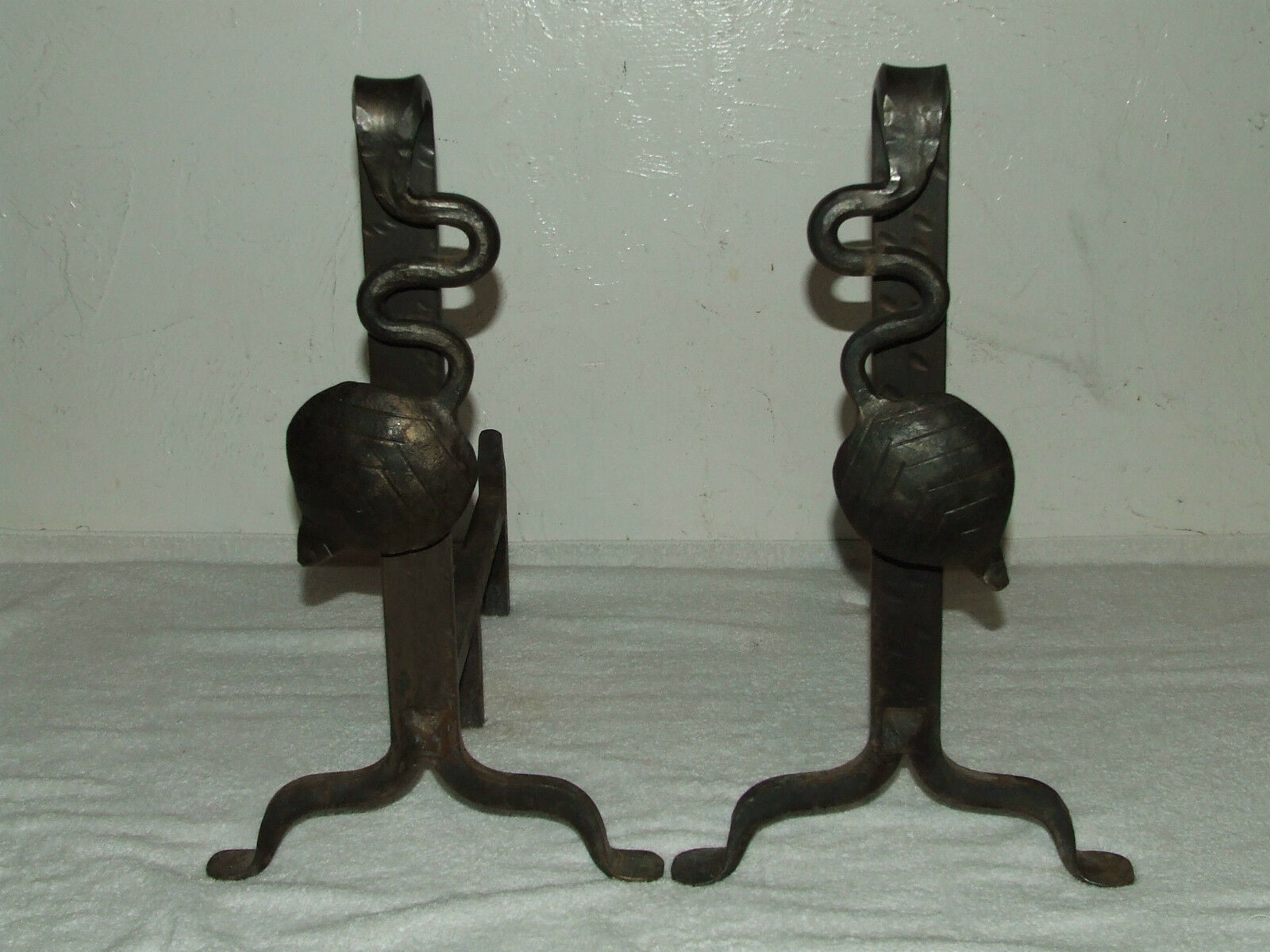 Antique 19th C. Hand Forged Cast Iron Victorian Art Nouveau Fireplace Andirons