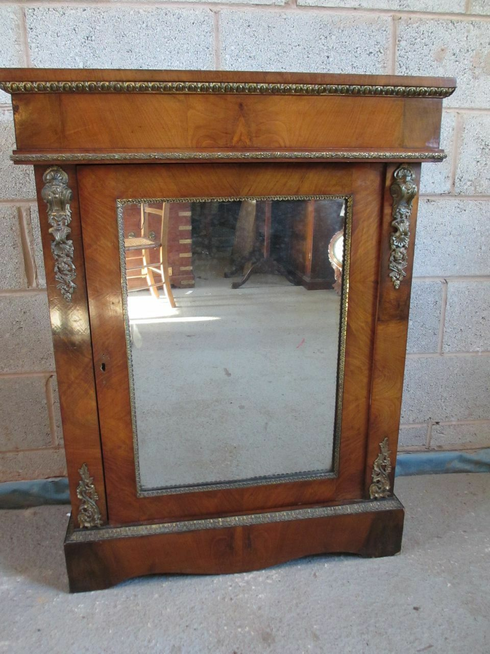 19th century Walnut mirror door ormulu mounted pier side cabinet (ref 1284)