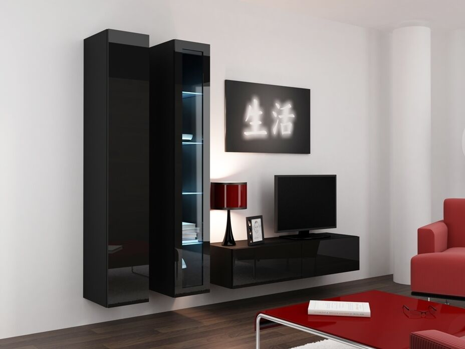High gloss tv cabinet tv wall unit tv stand 39 viva 10 for High gloss kitchen wall units