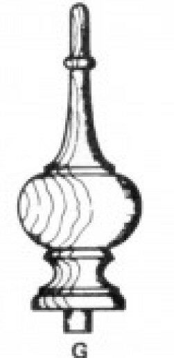 BEECH URN FINIAL 115mm HIGH x 50mm dia WITH PEG W80091 SUITABLE FOR CLOCK