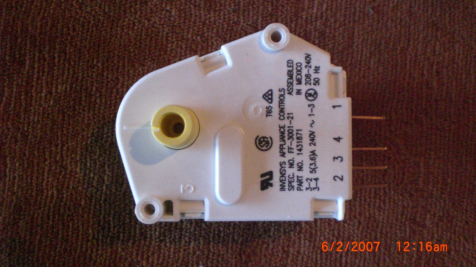 1431871: NEW Electrolux N410F Defrost Timer GENUINE (NOT CHINESE POOR QUALITY)