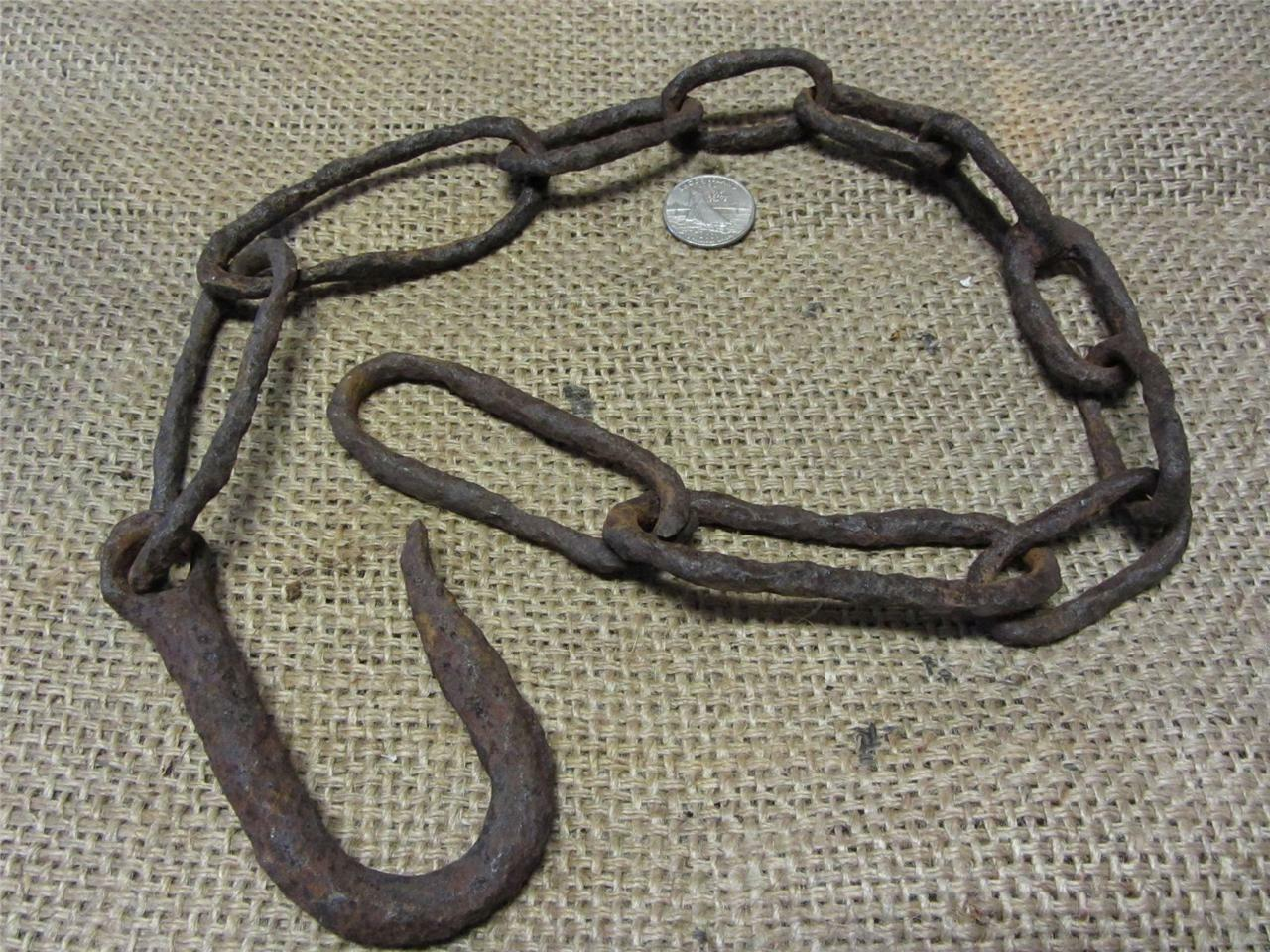 RARE Vintage Hand Forged Chain w Large Links > Antique Farm Old Ship 8549