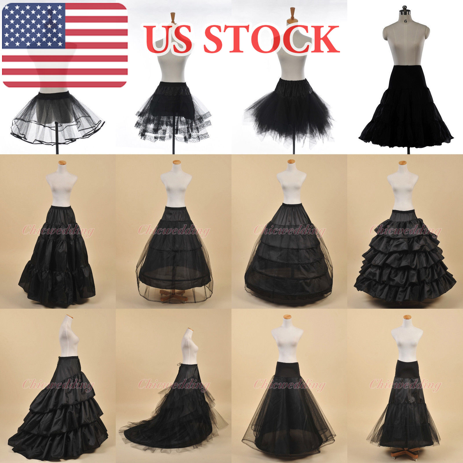 WHITE/BLACK BALL GOWN Mermaid Petticoat Underskirt Crinoline Slips ...