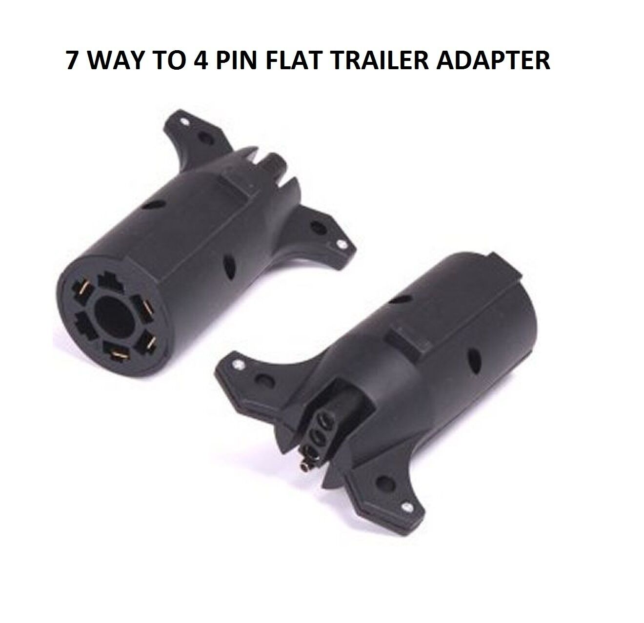 7 WAY ROUND to 4 Pin Flat Trailer Lights Towing Adapter RV7 Boat ...