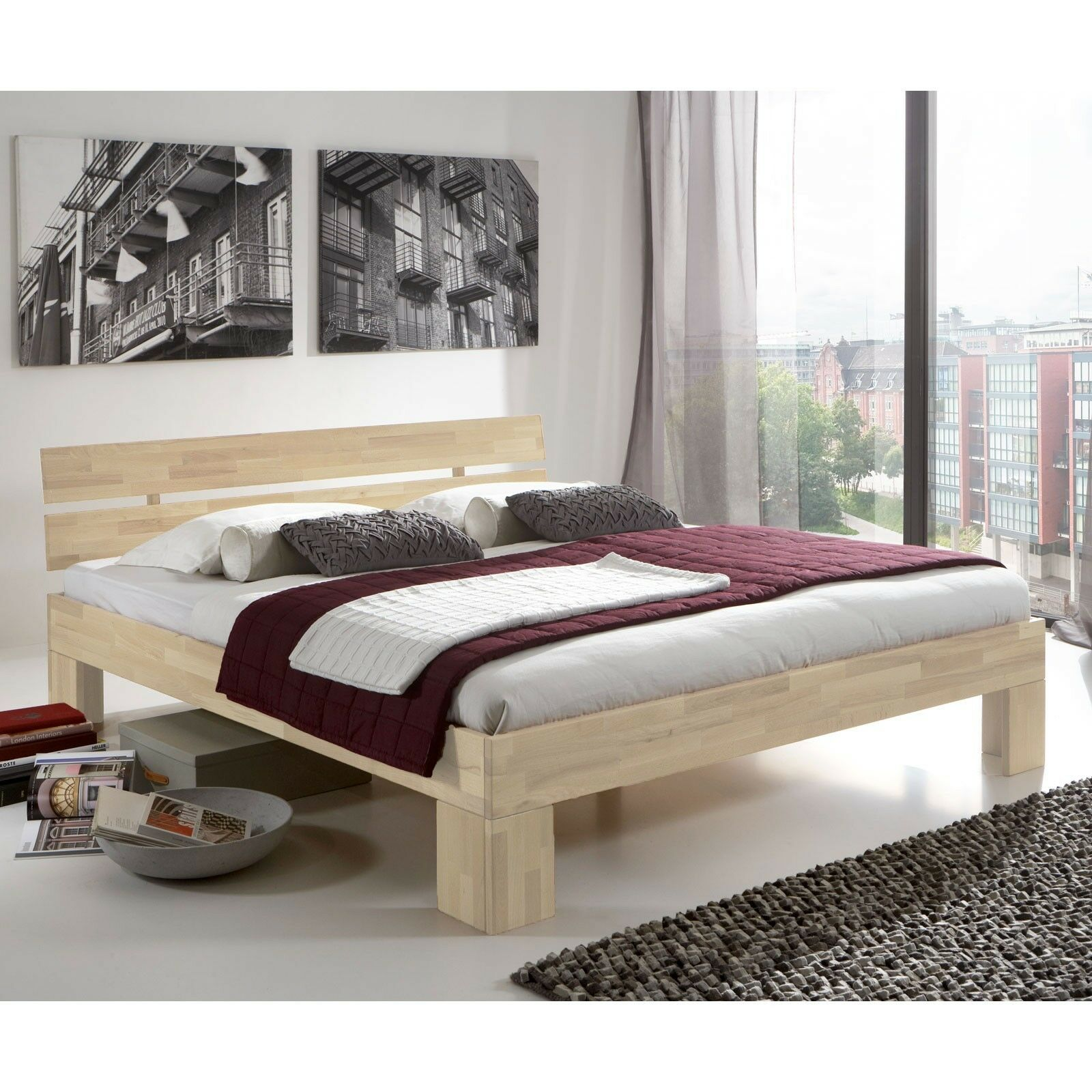 massivholzbett doppelbett holzbett futonbett kernbuche nano weiss 160x200 neu eur 409 00. Black Bedroom Furniture Sets. Home Design Ideas