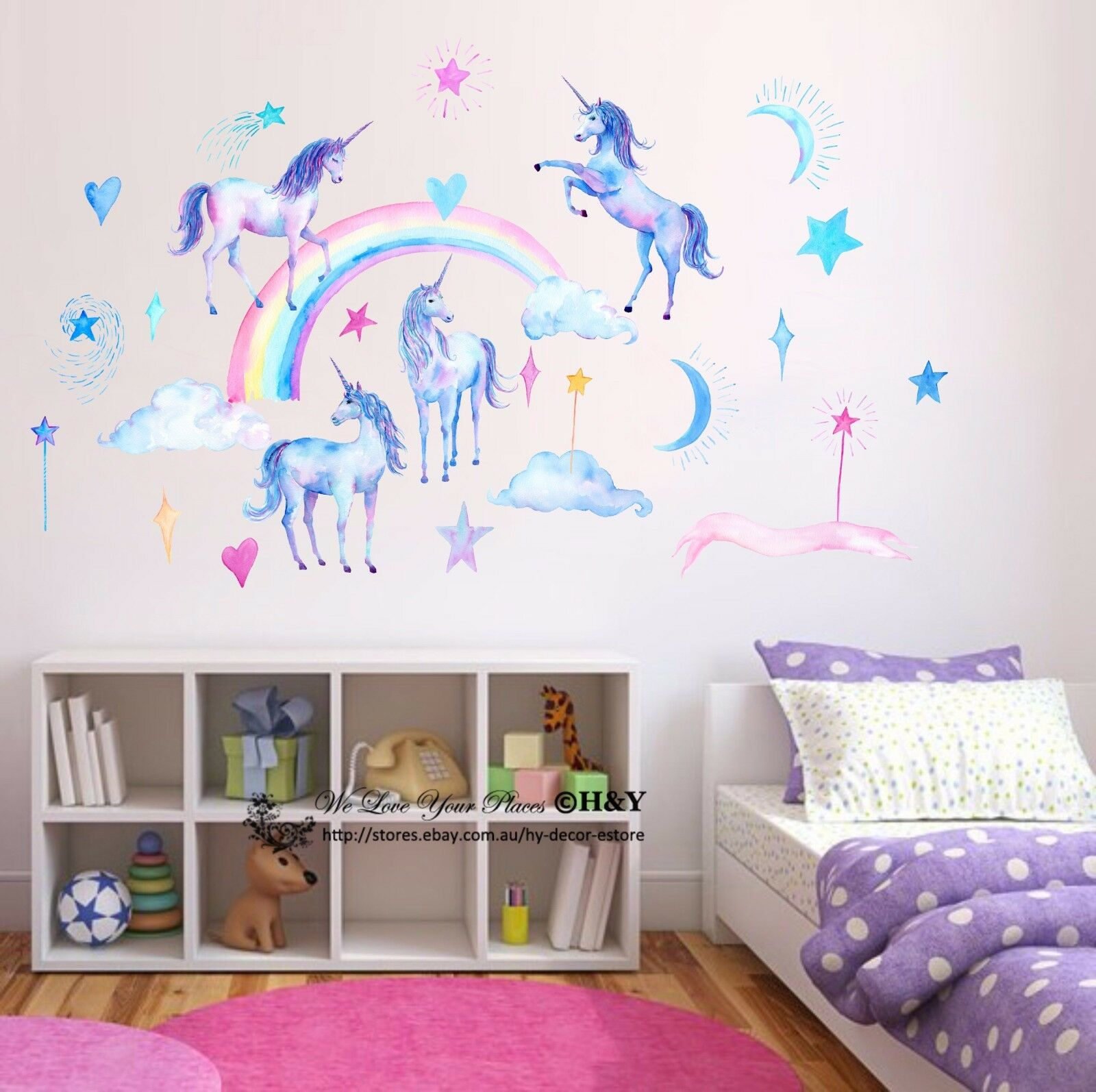 Unicorn Rainbow Cloud Star Heart Wall Decal Removable Sticker Kids Nursery Decor 1 Of 5only 5 Available See More
