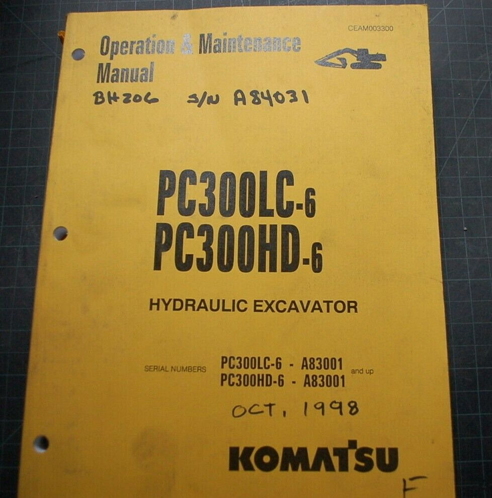 1 of 6Only 3 available KOMATSU PC300-6 Excavator OPERATOR Manual book maintenance  operation trackhoe