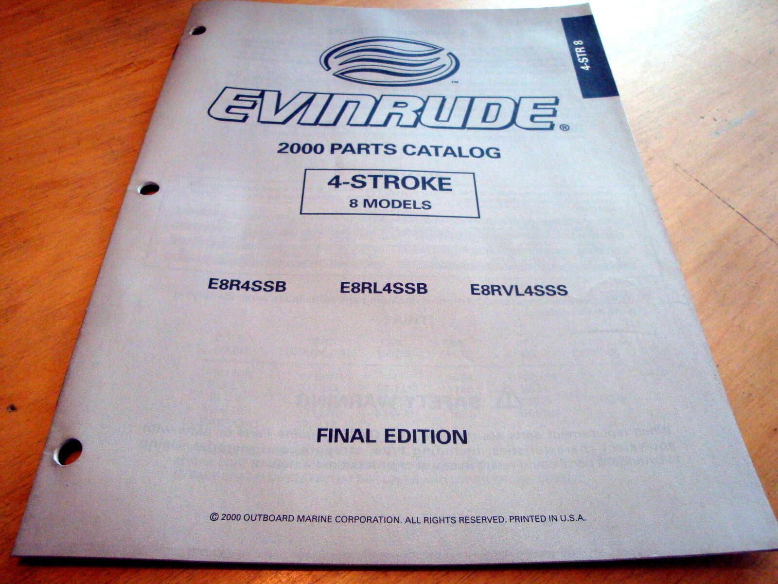 Evinrude 8 HP 4-Stroke Outboard Motor Catalog Parts List Book Manual 2000  OMC 1 of 1Only 1 available ...