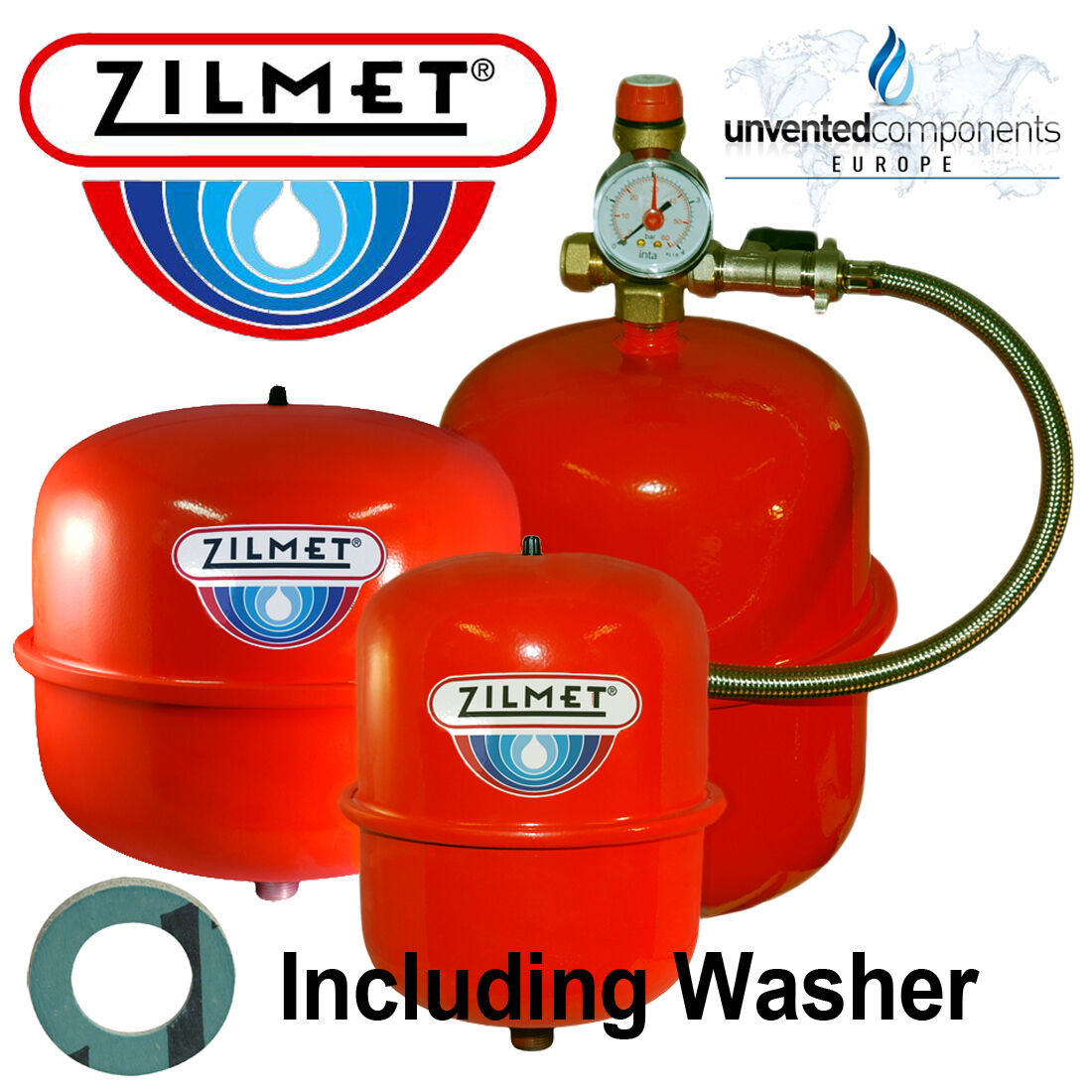 ZILMET ITALY RED Central Heating Expansion Vessel 8 12 18 24 Ltr + ...