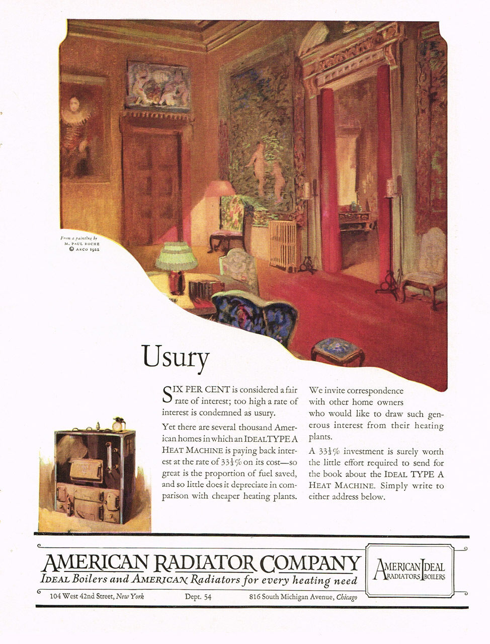 1922 AD American Radiator Company Usury-Paul Roche art advertising
