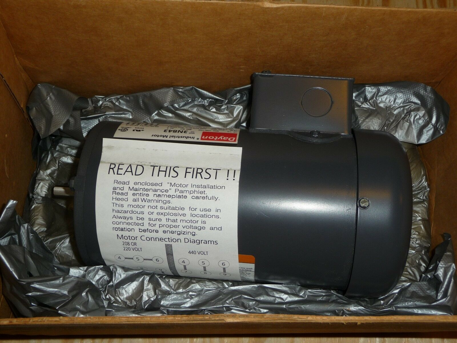 Dayton Ac Motor 3n483 1 4 Hp 1725 Rpm 208 220 440 Vac 3 Ph Tefc Wiring Diagram Of 1only Available