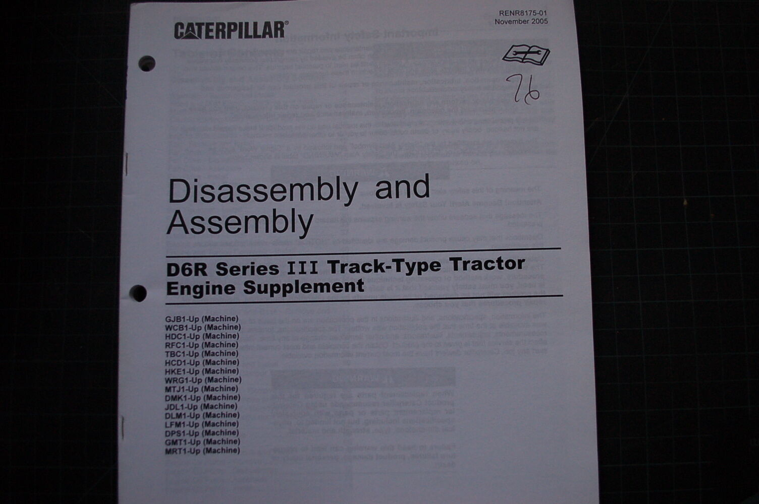 CATERPILLAR D6R Engine Disassembly Assembly Service Manual SUPPLEMENT  repair OEM 1 of 4Only 1 available CATERPILLAR D6R ...