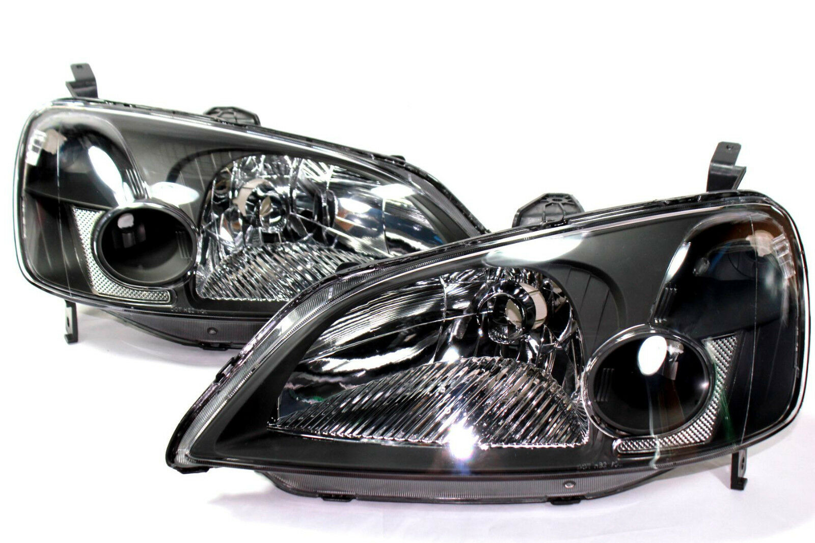01 03 Honda Civic ES EM 2 Door JDM Black Headlights W/ Chrome Reflector 1  Of 2Only 3 Available See More