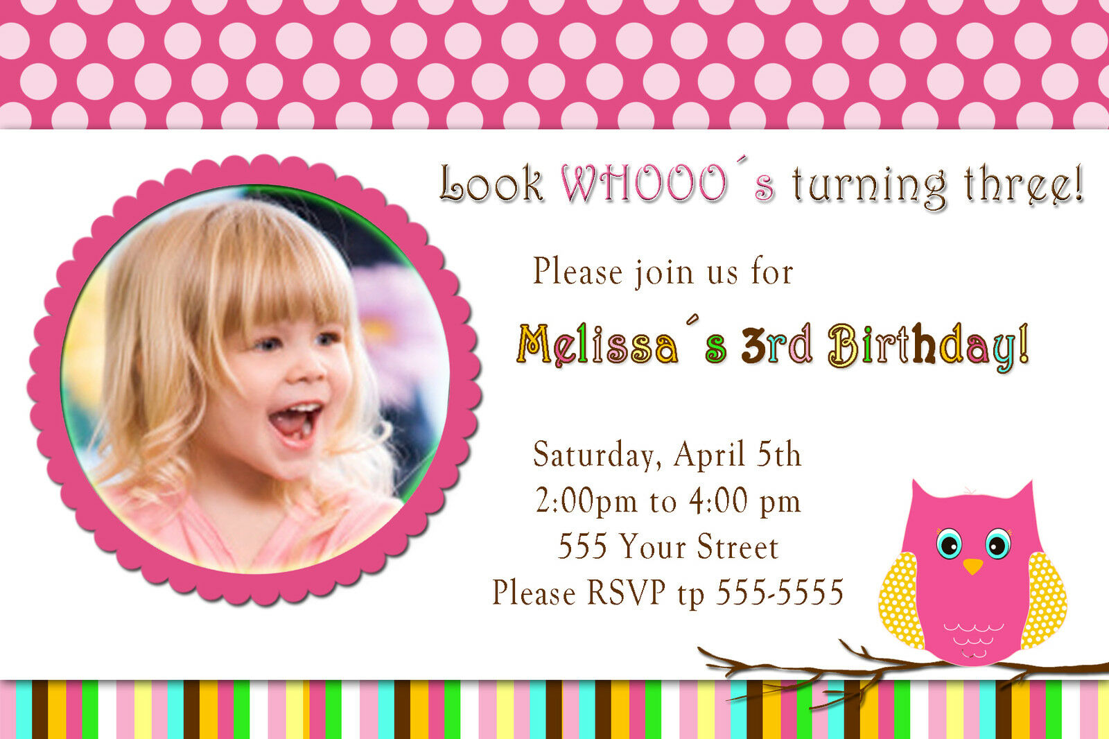 30 owl birthday invitation cards girl party invite personalized with 1 of 2only 1 available filmwisefo