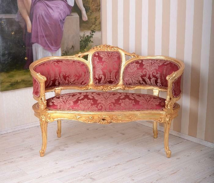 canape style baroque rouge et dore en bois hetre sofa louis xv empire eur 799 95 picclick fr. Black Bedroom Furniture Sets. Home Design Ideas